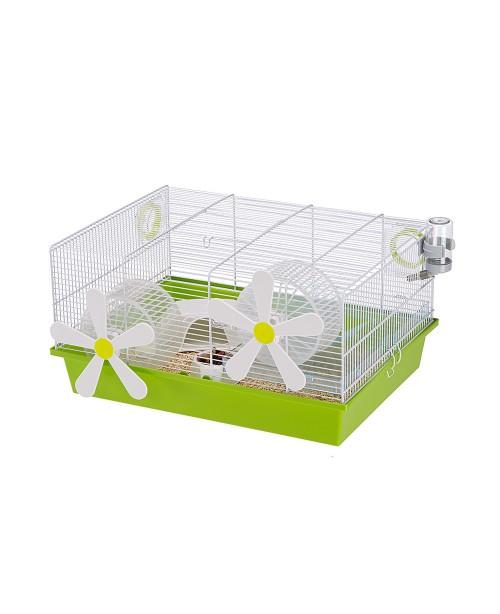 Клетка за хамстери и мишки - CAGE MILOS M FLOWERS WHITE   50 x 35 x h 25 cm