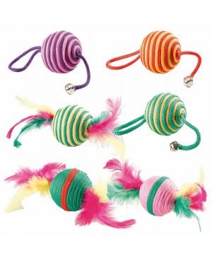 играчка за котка -цветно топче с пера или камбанки  5см.