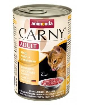 Консерва за котки Carny Adult  - говеждо, пилешко и патешки сърца  6x400гр.