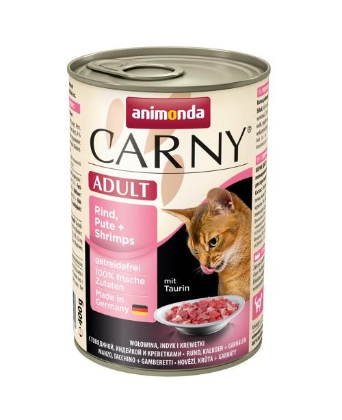 Консерва за котки Carny Adult  - Говеждо, пуйка и скариди 6x400гр.