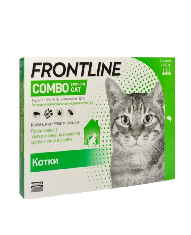 Препарат Спот Он за  външно обезпаразитяване при котки -Frontline combo,  1 пипета - Кучета