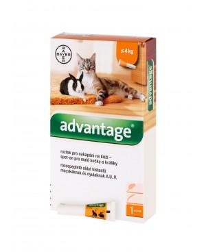 Препарат за външно обезпаразитяване - Advantage® 40 спот он за малки котки и декоративни зайци до 4кг.,  1бр. - Козметика за котки