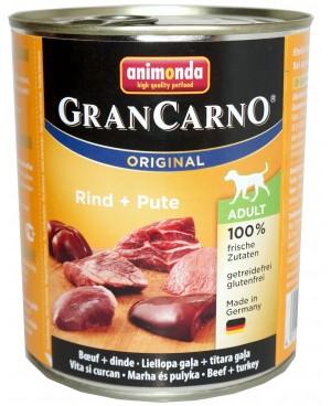 Консерва за кучета GranCarno - Говеждо и пуешко месо 800гр. - Кучета