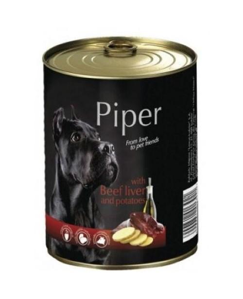 Консерва за кучета PIPER - Телешки дроб с картофи 800гр. - Кучета