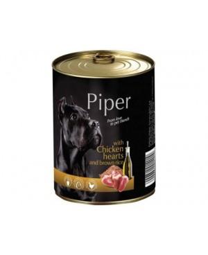 Консерва за кучета PIPER - пилешки сърца и кафяв ориз  800гр. - Кучета