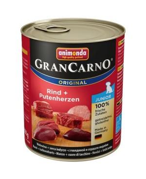 Консерва за кучета  GranCarno Junior  -  Tелешко месо и пуешки сърца 800гр. - Кучета