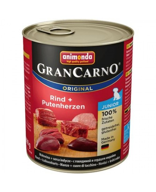 Консерва за кучета  GranCarno Junior  -  Tелешко месо и пуешки сърца 800гр.