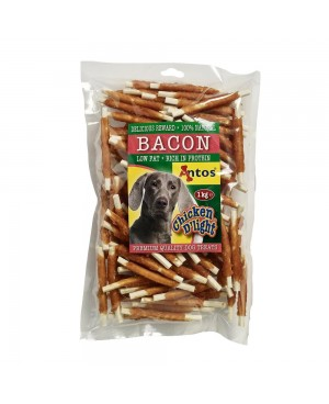 Лакомство Chicken light Bacon - пръчици обвити с пилешко месо,  1кг