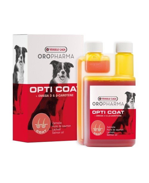Хранителна добавка за кучета Versele Laga Oropharma Opti Coat - продукт със сьомгово масло и В-каротин за лъскава козина и здрава кожа 250 мл.