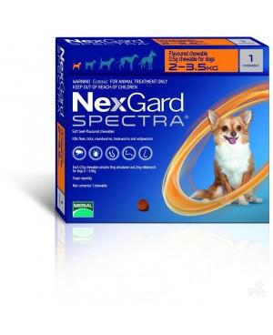 Препарат таблетка 2-3.5 кг. за цялостно вътрешно и външно обезпаразитяване при кучета - Nexgard Spectra, 1 таблетка - Кучета