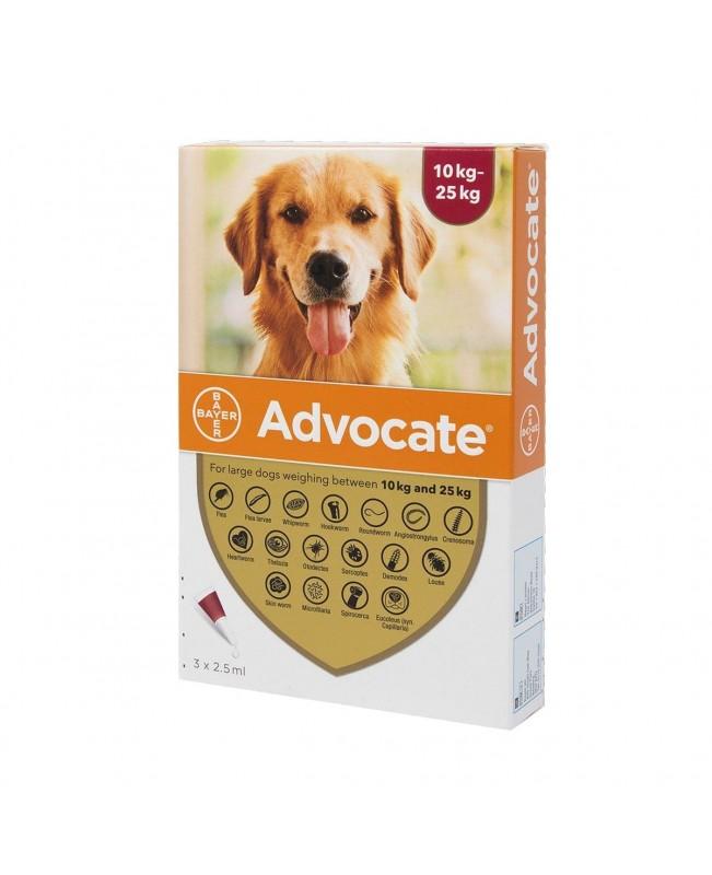 Препарат Спот Он за цялостно вътрешно и външно обезпаразитяване при кучета - Advocate 10-25 кг.,  1 пипета - Кучета