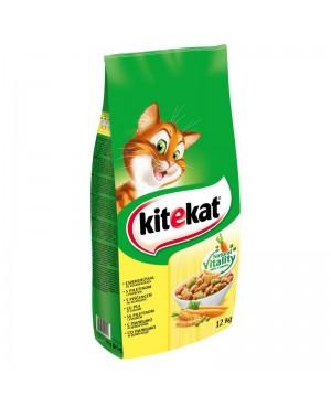 Суха храна за котки KITEKAT Пиле със зеленчуци - Суха храна